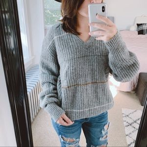 VINTAGE | Gray Striped 100% Wool Sweater Sz XL